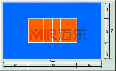 排球场平面�_技术 塑胶球场 > 正文              排球场地为长方形的平面,长18米