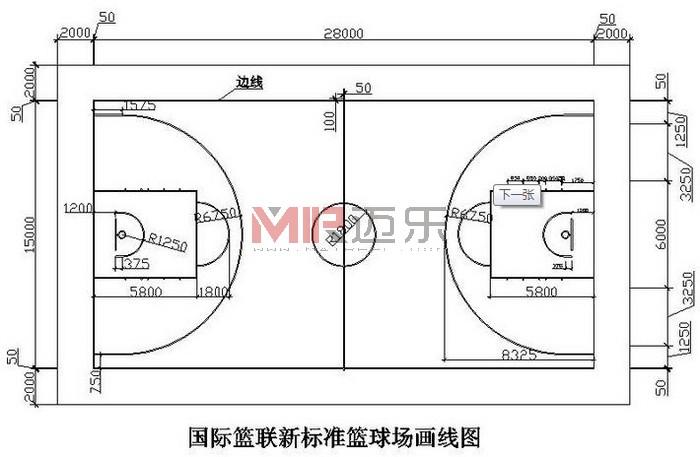 硅PU等塑胶篮球场地标准尺寸图规格种类运动
