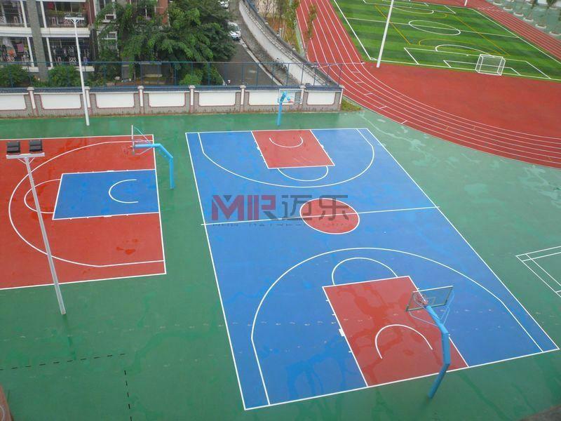 硅pu塑胶篮球场材料,施工工艺方案流程