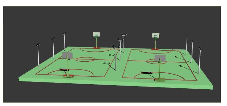 4.篮球场灯具布置平面图:-硅PU等塑胶篮球场地标准尺寸图规格种类