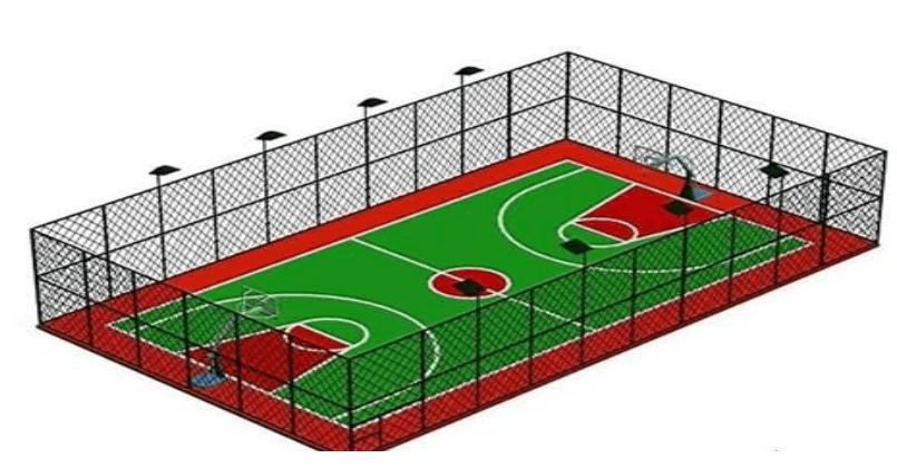 硅PU等塑胶篮球场地标准尺寸图规格种类运动地面面层材料施工方案